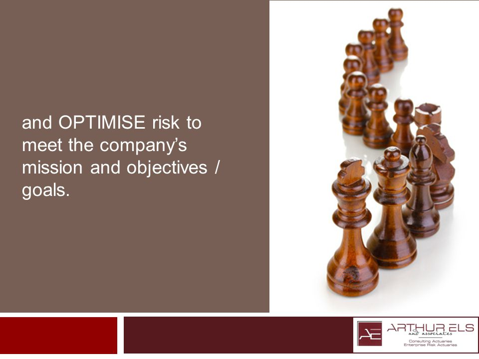and OPTIMISE risk to meet the companys mission and objectives / goals.