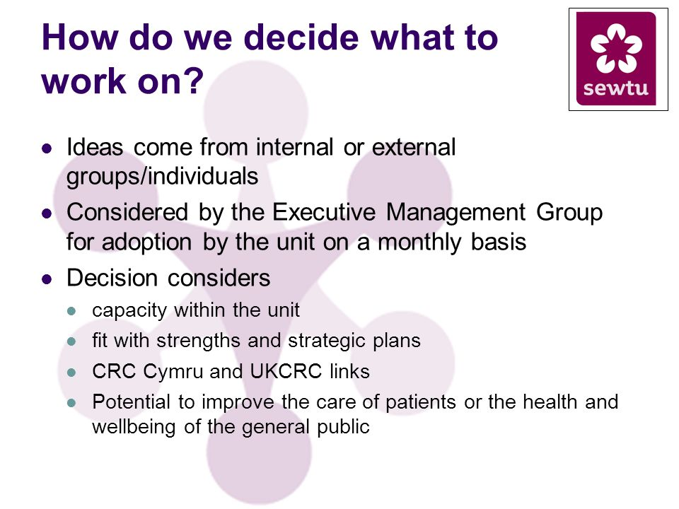 How do we decide what to work on? Ideas come from internal or external groups/individuals Considered by the Executive Management Group for adoption by