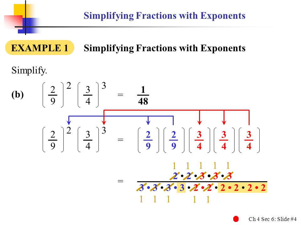 Ch 4 Sec 6: Slide #4 Simplifying Fractions with Exponents EXAMPLE 1 Simplifying Fractions with Exponents Simplify.