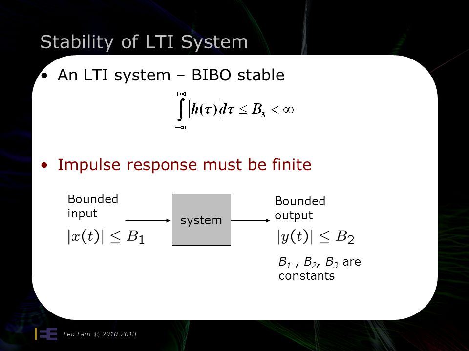 Stability of LTI System Leo Lam © 2010-2013 5 Is this condition sufficient for stability.