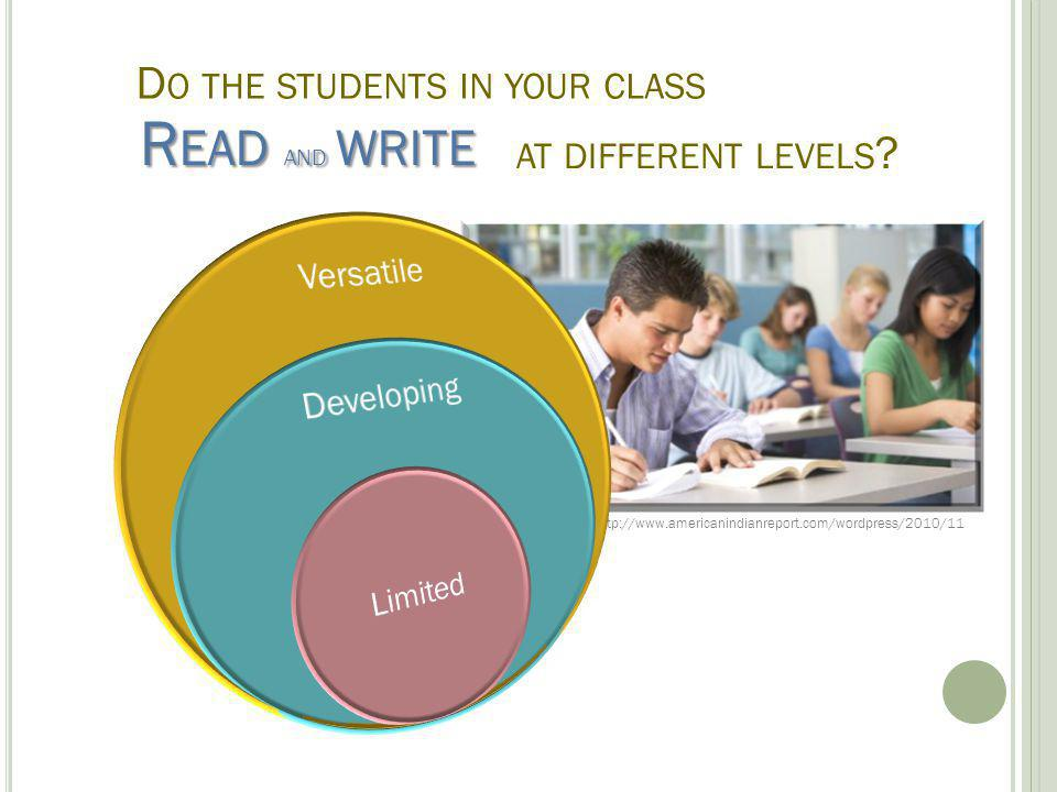 D O THE STUDENTS IN YOUR CLASS R EAD AND WRITE AT DIFFERENT LEVELS .