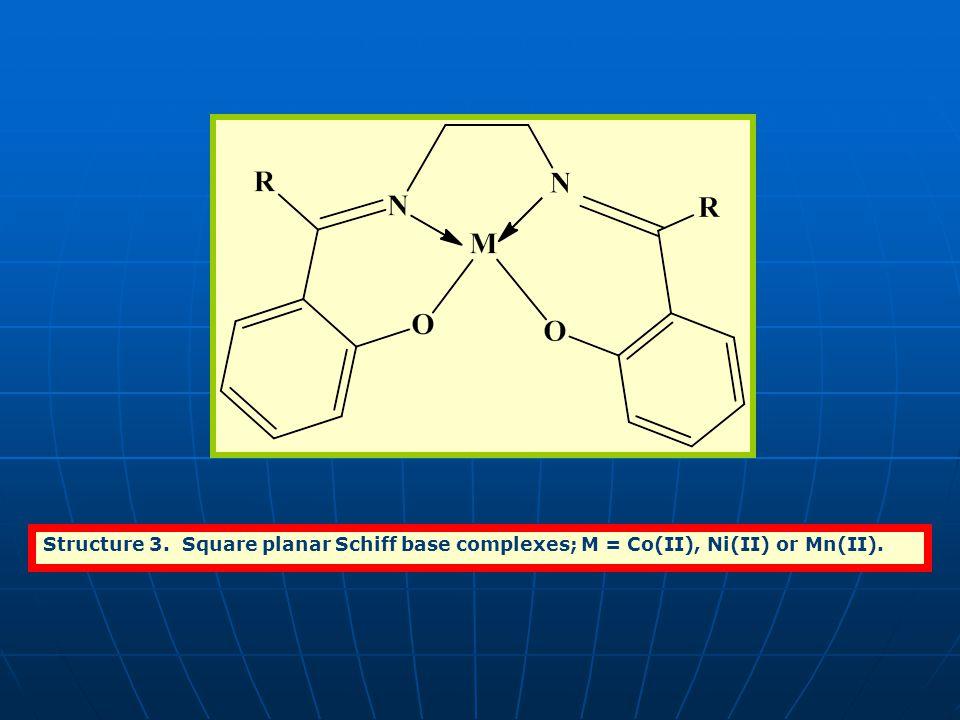 Structure 3. Square planar Schiff base complexes; M = Co(II), Ni(II) or Mn(II).