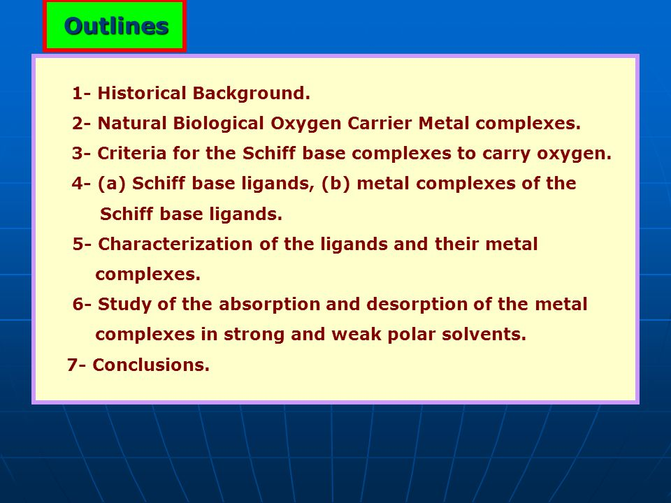 1- Historical Background. 2- Natural Biological Oxygen Carrier Metal complexes. 3- Criteria for the Schiff base complexes to carry oxygen. 4- (a) Schi