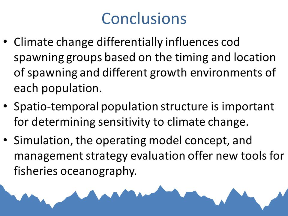 Conclusions Climate change differentially influences cod spawning groups based on the timing and location of spawning and different growth environments of each population.