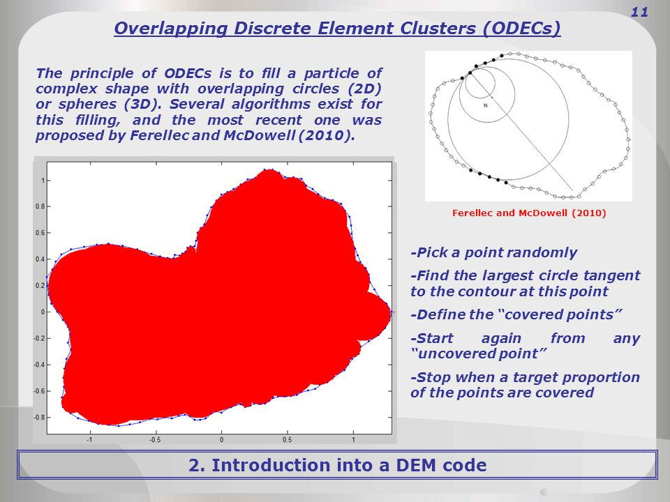 2. Introduction into a DEM code 11 Overlapping Discrete Element Clusters (ODECs) Ferellec and McDowell (2010) The principle of ODECs is to fill a part