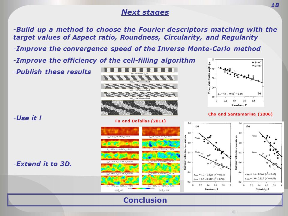 Conclusion 18 Next stages -Build up a method to choose the Fourier descriptors matching with the target values of Aspect ratio, Roundness, Circularity, and Regularity -Improve the convergence speed of the Inverse Monte-Carlo method -Improve the efficiency of the cell-filling algorithm -Publish these results -Use it .