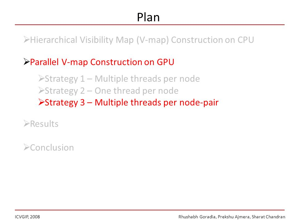 Plan ICVGIP, 2008Rhushabh Goradia, Prekshu Ajmera, Sharat Chandran Hierarchical Visibility Map (V-map) Construction on CPU Parallel V-map Construction on GPU Strategy 1 – Multiple threads per node Strategy 2 – One thread per node Strategy 3 – Multiple threads per node-pair Results Conclusion