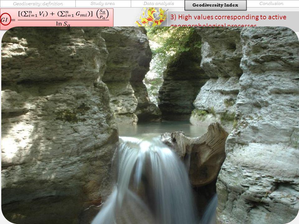 Geodiversity IndexConclusionData analysisStudy area Geodiversity:definition Geodiversity Index 3) High values corresponding to active geomorphological processes