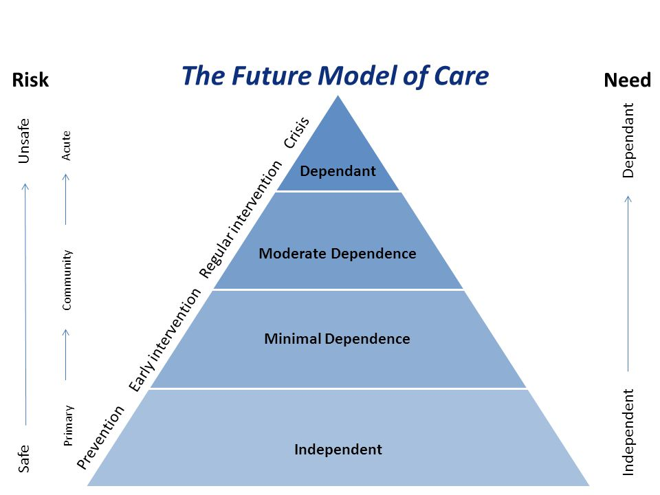 Dependant Moderate Dependence Minimal Dependence Independent Prevention Early intervention Regular intervention Crisis The Future Model of Care Safe U