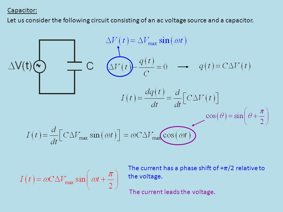Capacitor: Let us consider the following circuit consisting of an ac voltage source and a capacitor. The current has a phase shift of + /2 relative to