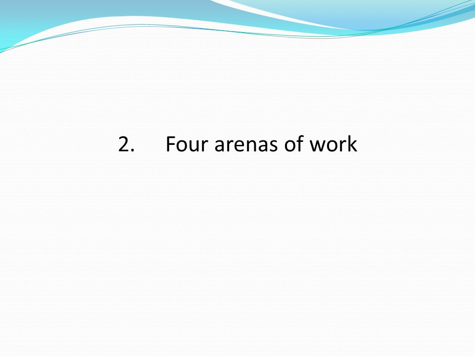 2.Four arenas of work