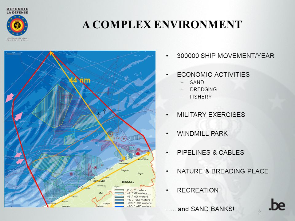 2 44 nm A COMPLEX ENVIRONMENT 300000 SHIP MOVEMENT/YEAR ECONOMIC ACTIVITIES –SAND –DREDGING –FISHERY MILITARY EXERCISES WINDMILL PARK PIPELINES & CABLES NATURE & BREADING PLACE RECREATION …..