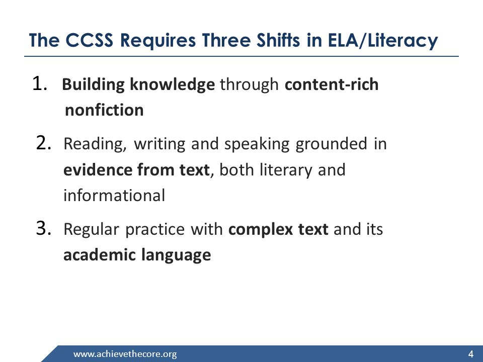 The CCSS Requires Three Shifts in ELA/Literacy 1.