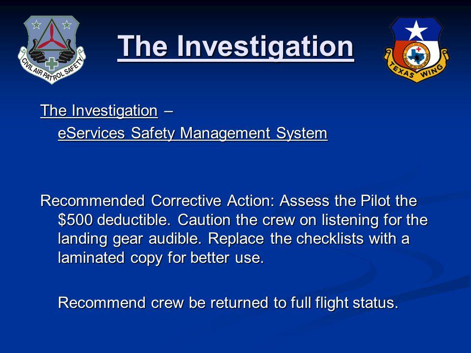 CORRECT! The Investigation