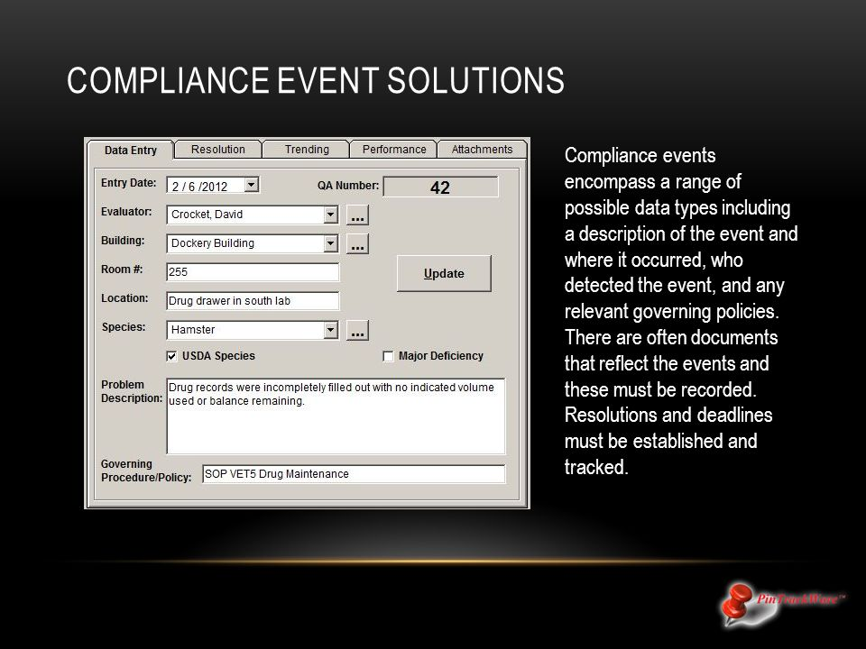 COMPLIANCE EVENT SOLUTIONS Compliance events encompass a range of possible data types including a description of the event and where it occurred, who detected the event, and any relevant governing policies.