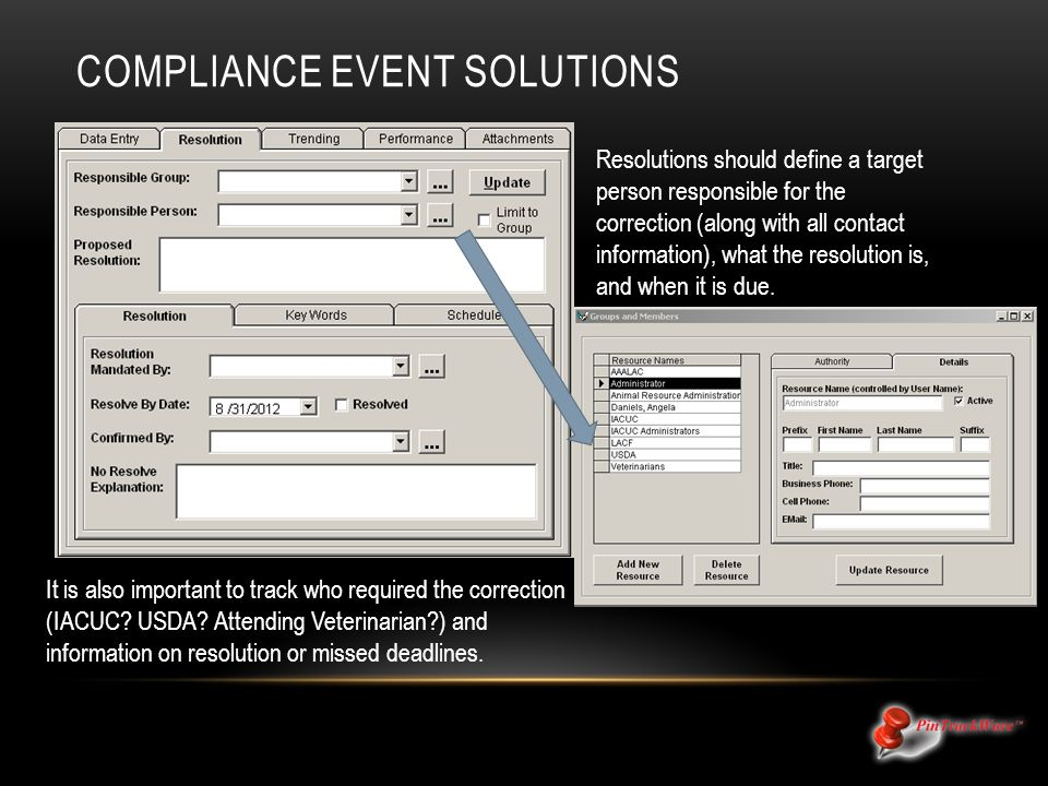 COMPLIANCE EVENT SOLUTIONS Resolutions should define a target person responsible for the correction (along with all contact information), what the resolution is, and when it is due.