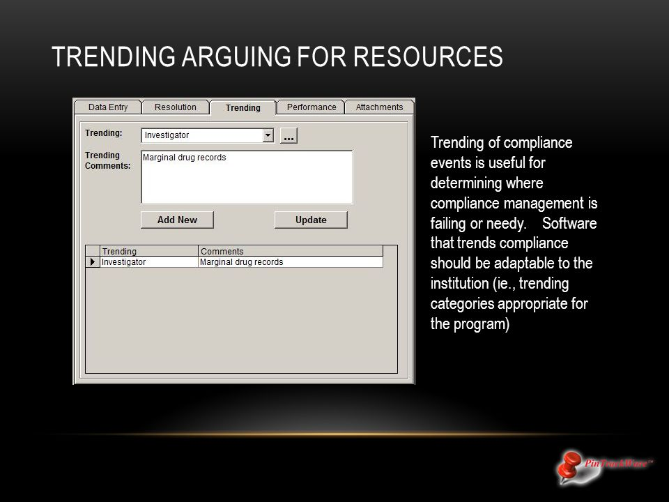 TRENDING ARGUING FOR RESOURCES Trending of compliance events is useful for determining where compliance management is failing or needy.