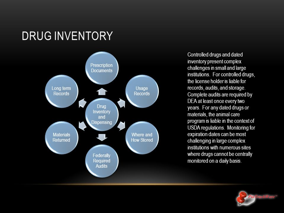 DRUG INVENTORY Controlled drugs and dated inventory present complex challenges in small and large institutions. For controlled drugs, the license hold