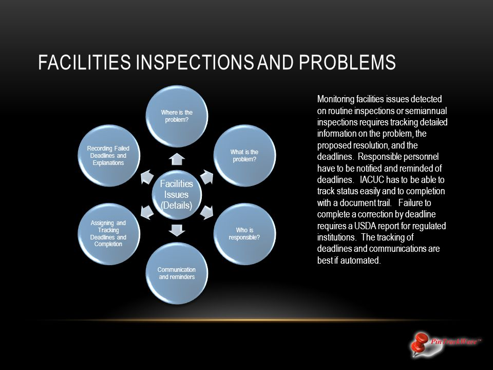 FACILITIES INSPECTIONS AND PROBLEMS Monitoring facilities issues detected on routine inspections or semiannual inspections requires tracking detailed