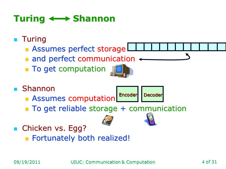 of 31 09/19/2011UIUC: Communication & Computation4 Turing Shannon Turing Turing Assumes perfect storage Assumes perfect storage and perfect communication and perfect communication To get computation To get computation Shannon Shannon Assumes computation Assumes computation To get reliable storage + communication To get reliable storage + communication Chicken vs.