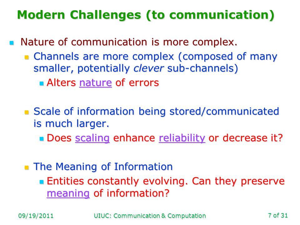 of 31 09/19/2011UIUC: Communication & Computation18 Reliability vs.