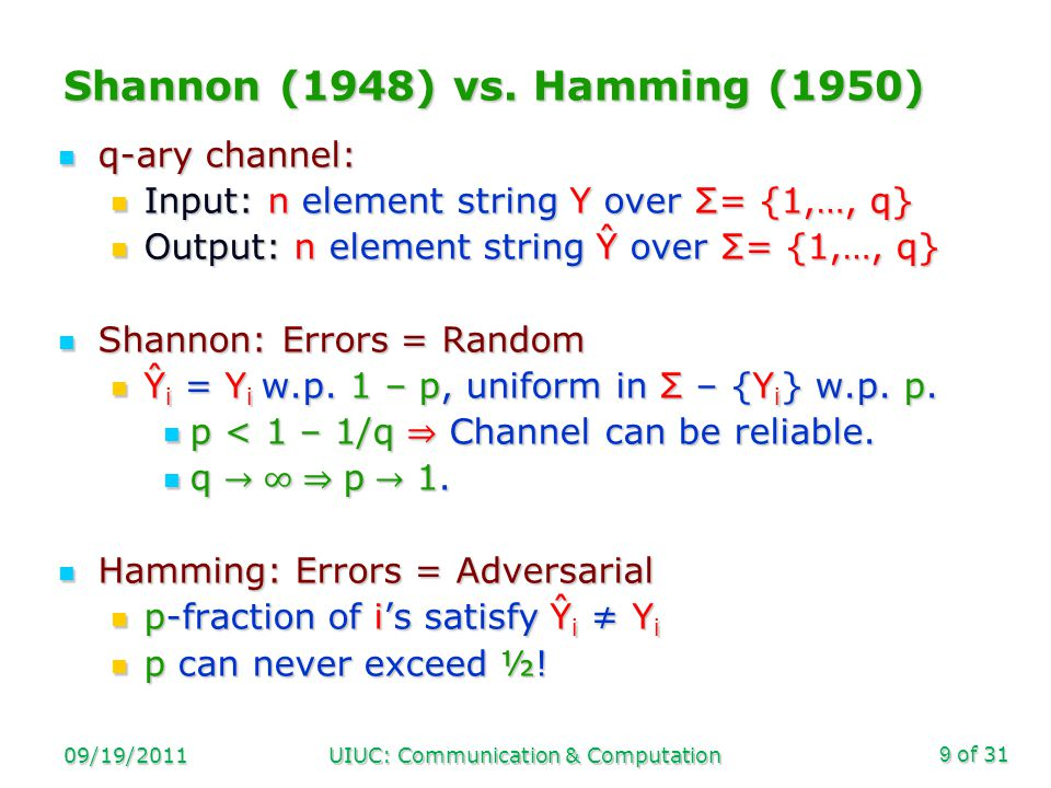 of 31 09/19/2011UIUC: Communication & Computation20 Progress [1990-2008]