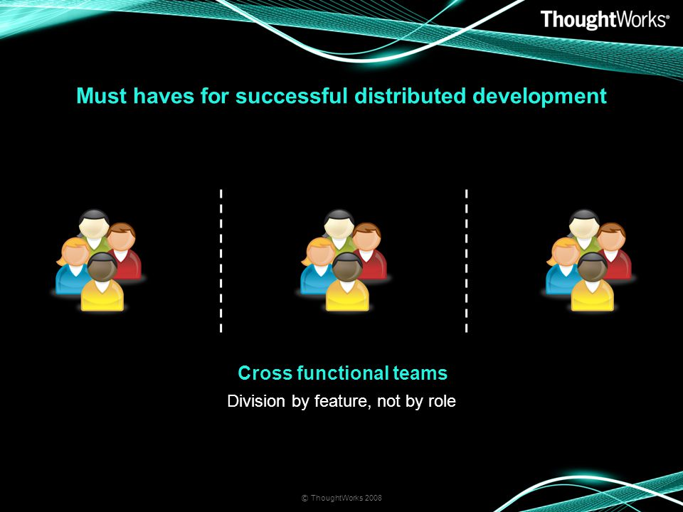 Must haves for successful distributed development © ThoughtWorks 2008 Cross functional teams Division by feature, not by role