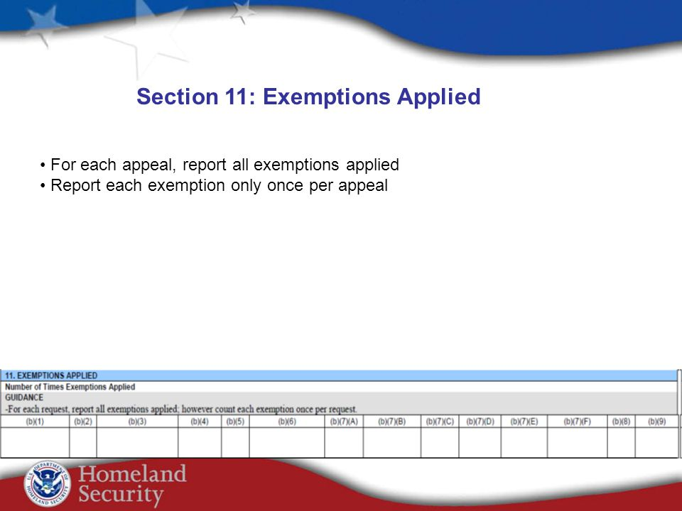 For each appeal, report all exemptions applied Report each exemption only once per appeal Section 11: Exemptions Applied