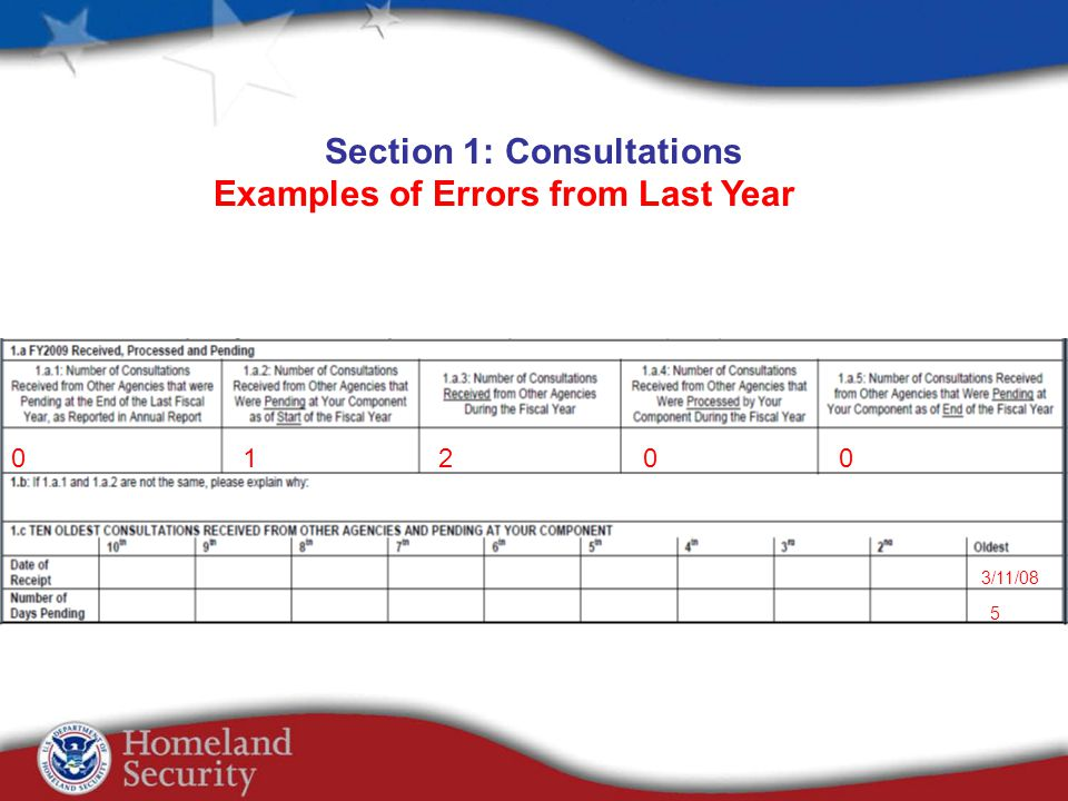 Section 1: Consultations Examples of Errors from Last Year 01200 3/11/08 5