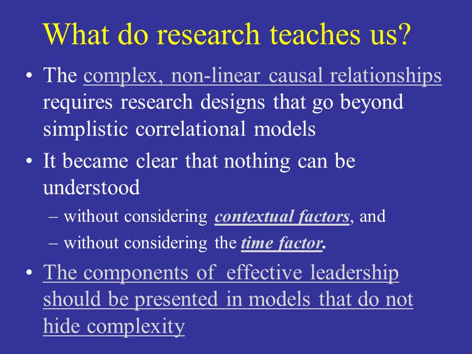 What do research teaches us.