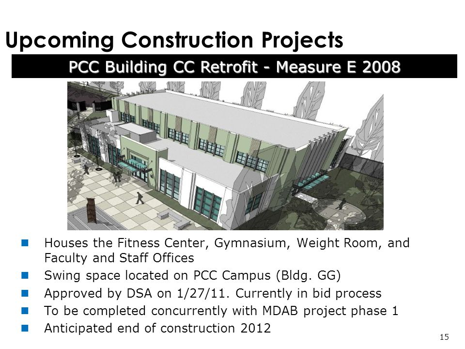 Upcoming Construction Projects PCC Building CC Retrofit - Measure E Houses the Fitness Center, Gymnasium, Weight Room, and Faculty and Staff Offices Swing space located on PCC Campus (Bldg.