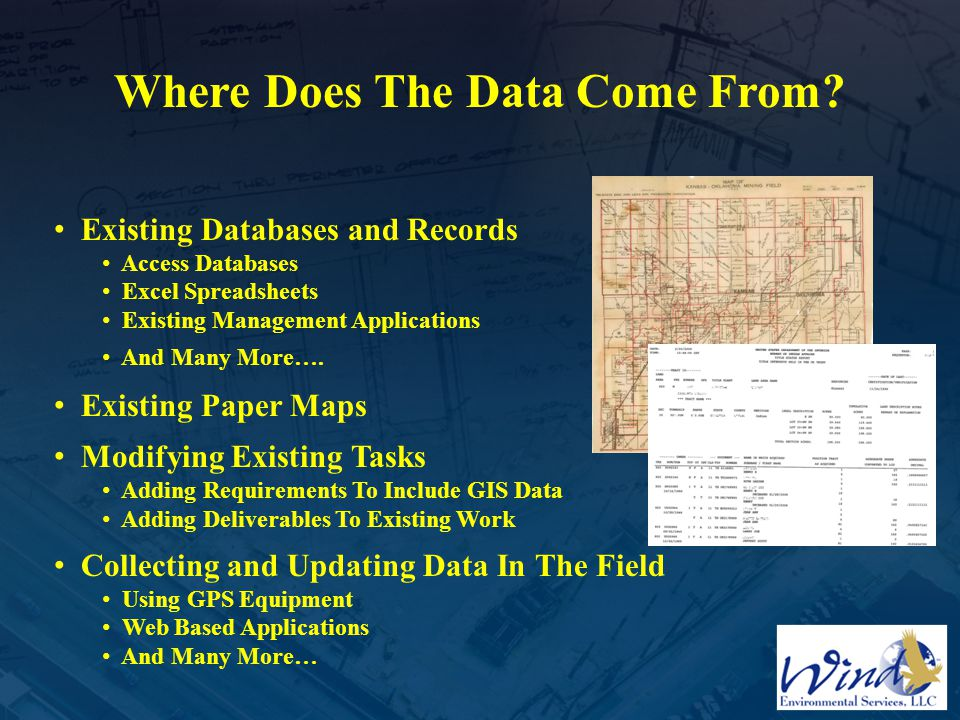 Where Does The Data Come From? Existing Databases and Records Access Databases Excel Spreadsheets Existing Management Applications And Many More…. Exi