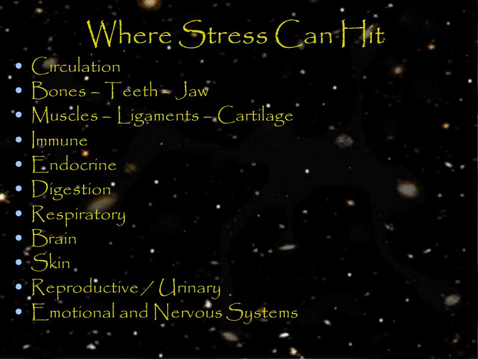 Where Stress Can Hit Circulation Bones – Teeth – Jaw Muscles – Ligaments – Cartilage Immune Endocrine Digestion Respiratory Brain Skin Reproductive / Urinary Emotional and Nervous Systems