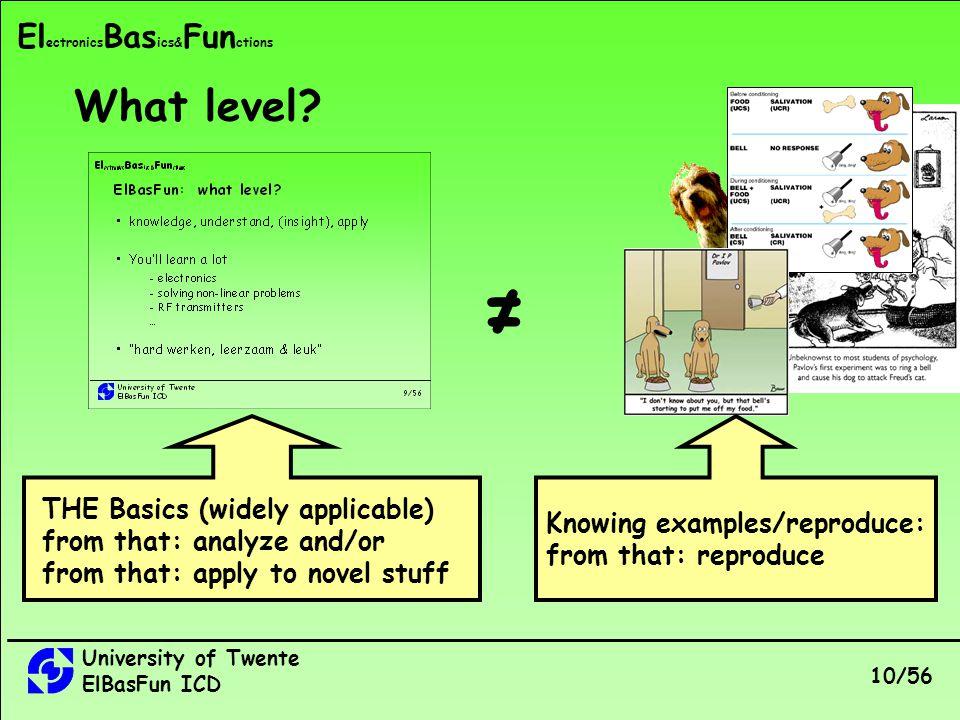 University of Twente ElBasFun ICD 10/56 El ectronics Bas ics& Fun ctions What level.