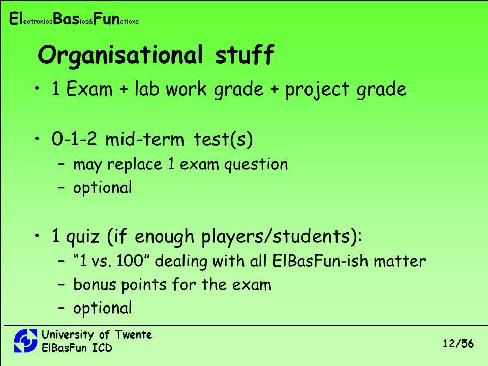 University of Twente ElBasFun ICD 12/56 El ectronics Bas ics& Fun ctions 1 Exam + lab work grade + project grade 0-1-2 mid-term test(s) –may replace 1 exam question –optional 1 quiz (if enough players/students): –1 vs.