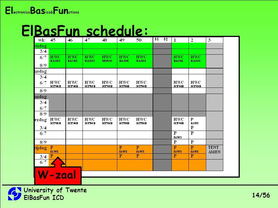 University of Twente ElBasFun ICD 14/56 El ectronics Bas ics& Fun ctions ElBasFun schedule: W-zaal