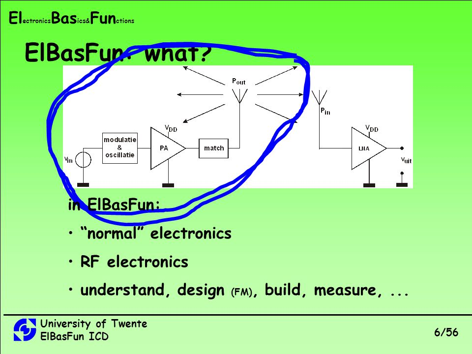 University of Twente ElBasFun ICD 6/56 El ectronics Bas ics& Fun ctions ElBasFun: what.