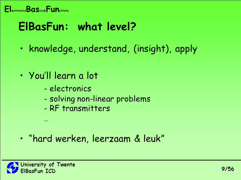 University of Twente ElBasFun ICD 9/56 El ectronics Bas ics& Fun ctions ElBasFun: what level.