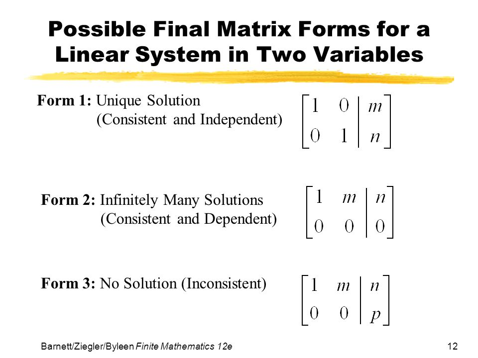 12 Barnett/Ziegler/Byleen Finite Mathematics 12e Possible Final Matrix Forms for a Linear System in Two Variables Form 1: Unique Solution (Consistent