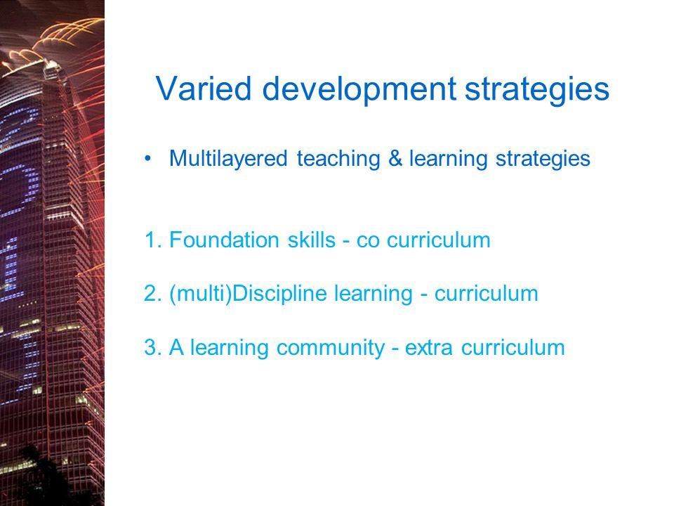 Varied development strategies Multilayered teaching & learning strategies 1.Foundation skills - co curriculum 2.(multi)Discipline learning - curriculu