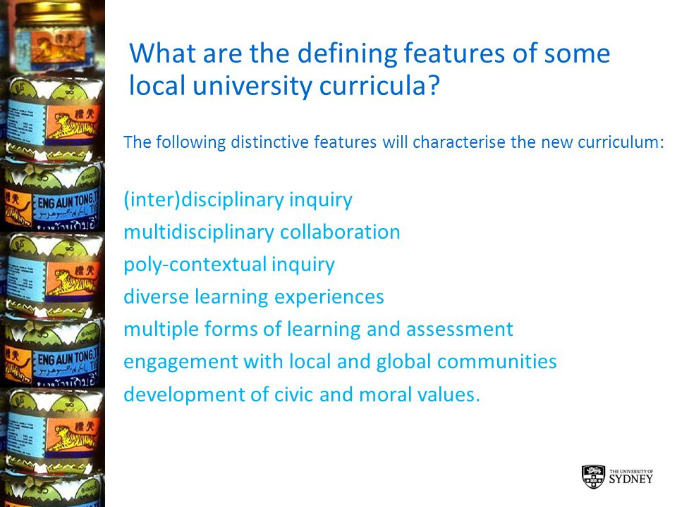 What are the defining features of some local university curricula? The following distinctive features will characterise the new curriculum: (inter)dis
