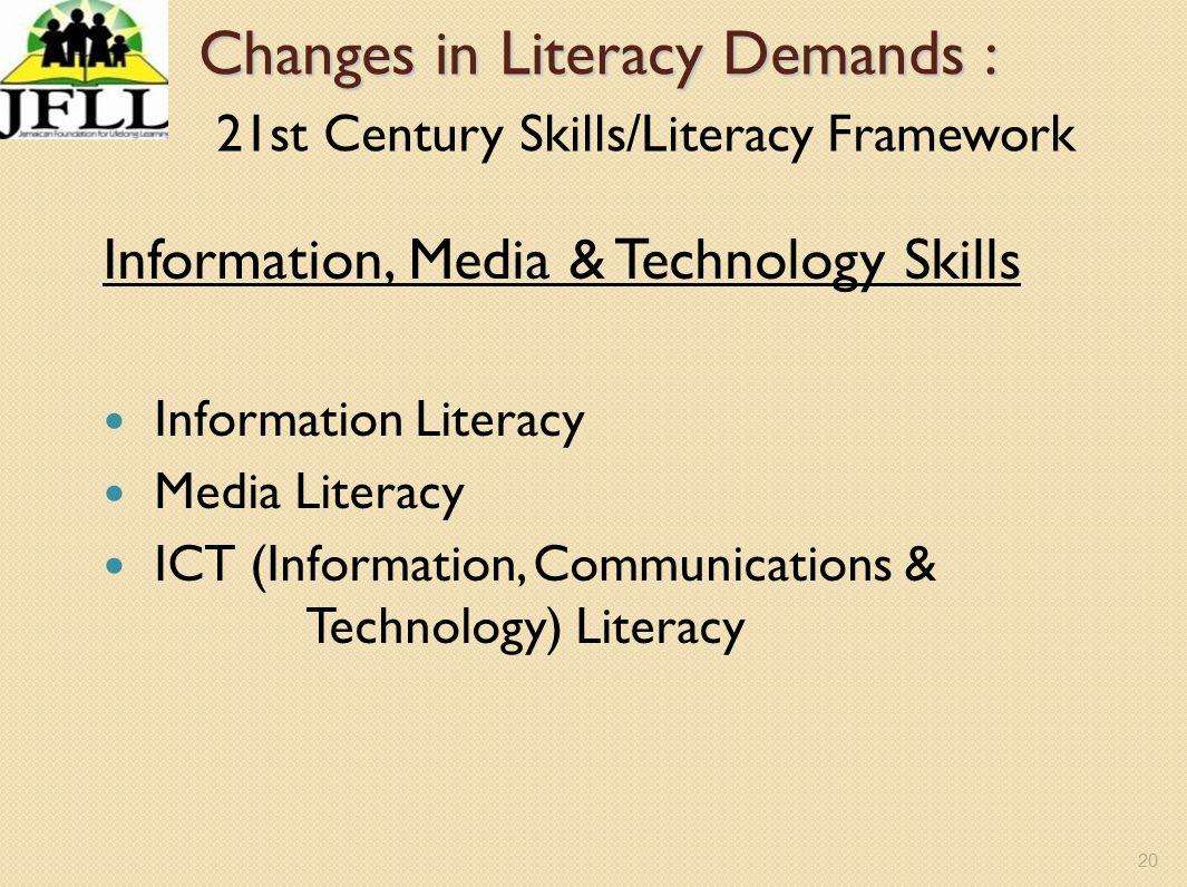 20 Changes in Literacy Demands : Changes in Literacy Demands : 21st Century Skills/Literacy Framework Information, Media & Technology Skills Informati