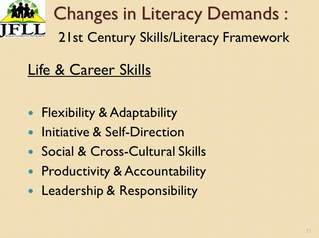 21 Changes in Literacy Demands : Changes in Literacy Demands : 21st Century Skills/Literacy Framework Life & Career Skills Flexibility & Adaptability