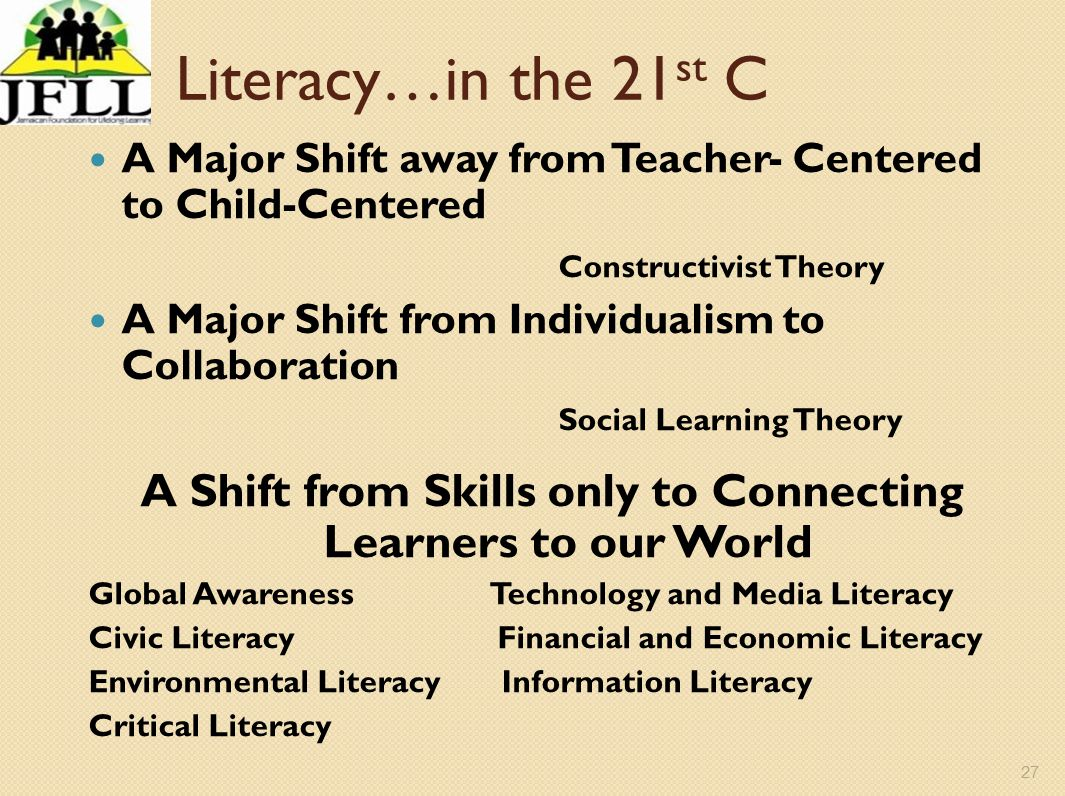 27 Literacy…in the 21 st C A Major Shift away from Teacher- Centered to Child-Centered Constructivist Theory A Major Shift from Individualism to Colla
