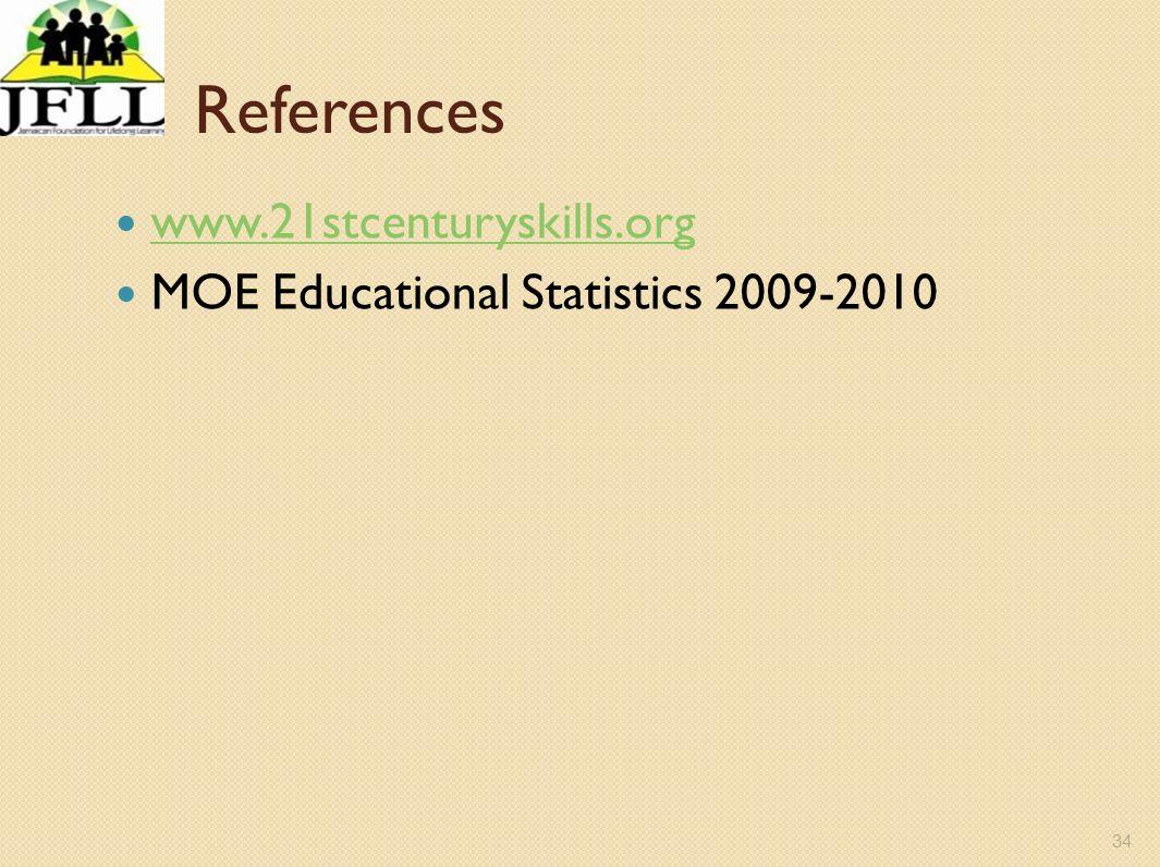 34 References www.21stcenturyskills.org MOE Educational Statistics 2009-2010