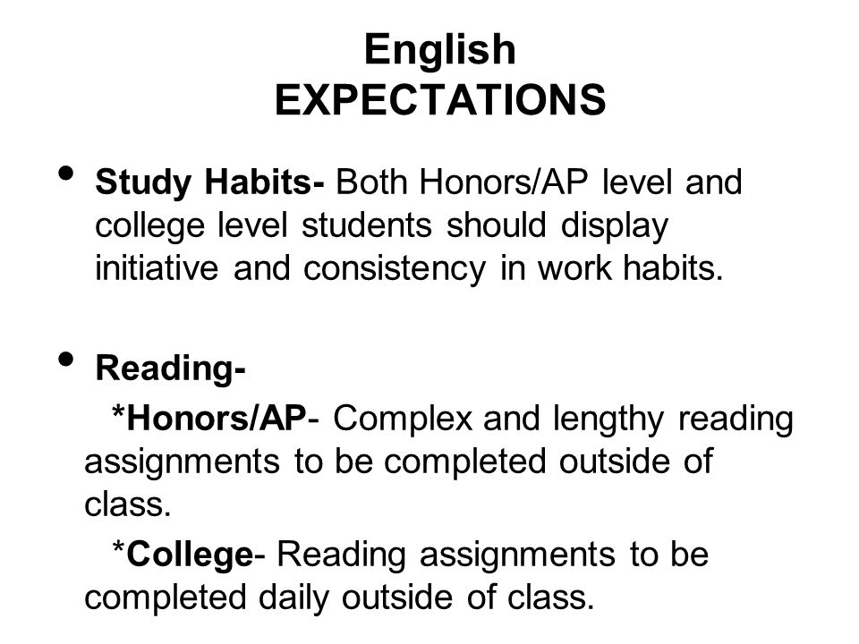 English EXPECTATIONS Study Habits- Both Honors/AP level and college level students should display initiative and consistency in work habits.