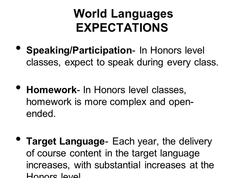 World Languages EXPECTATIONS Speaking/Participation- In Honors level classes, expect to speak during every class.