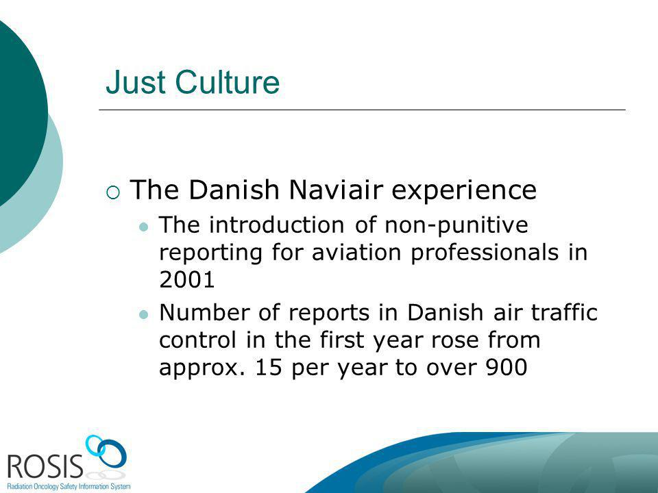 Just Culture The Danish Naviair experience The introduction of non-punitive reporting for aviation professionals in 2001 Number of reports in Danish air traffic control in the first year rose from approx.