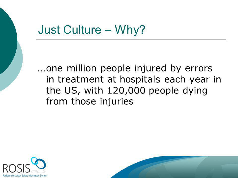 Just Culture – Why? … one million people injured by errors in treatment at hospitals each year in the US, with 120,000 people dying from those injurie