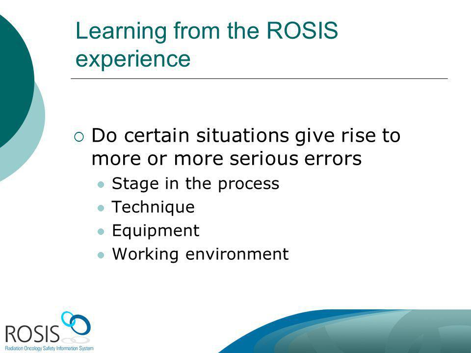 Learning from the ROSIS experience Do certain situations give rise to more or more serious errors Stage in the process Technique Equipment Working env